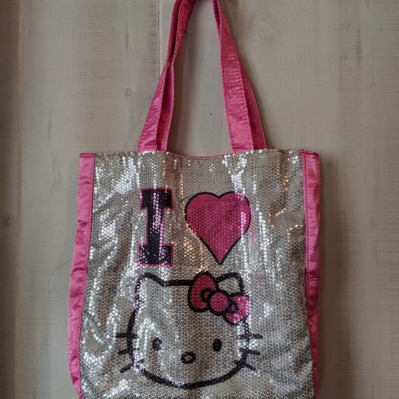 0088dc8f540 Sanrio Bags   I Love Hello Kitty Pink Sequin Tote Bag   Poshmark
